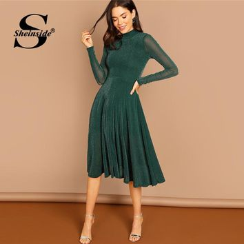 Sheinside Green Mock Neck Glitter Women Midi Dress Elegant Fit & Flare Long Sleeve Dresses Knee-Length Ladies Party Dress