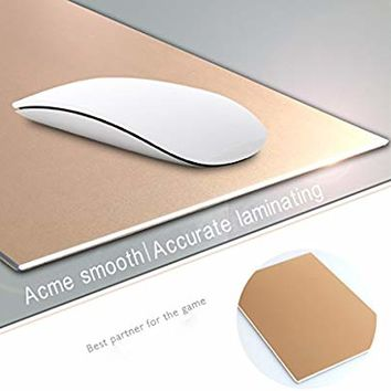 "Mouse Pad, Qcute 9.18"" 6.11"" Gaming Aluminum Mouse Pad W Non-Slip Rubber Base & Micro Sand Blasting Aluminium Surface for Fast and Accurate Control(Gold)"
