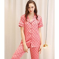 GUCCI Fashionable Women Men Silk Long Sleeve Short Sleeve Couple Pajamas Home Wear Pink