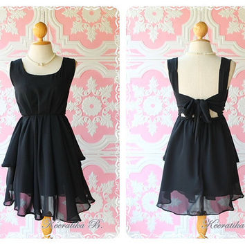 A Party - Cocktail Prom Party Dinner Wedding Night Dress Asymmetric Hem Mellow Black Lined Deep Back Bow Tie Natural Sexy Charming Looks
