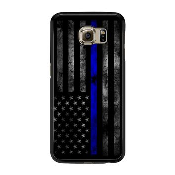American Police Officer The Thin Blue Line Samsung Galaxy S6 Edge Case