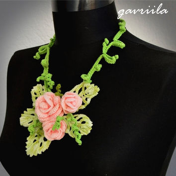 clearance sale Knit necklace,Floral necklace,Real Flower necklace,Green necklace,Handmade necklace,Crochet necklace,Any occasion necklace,Gi