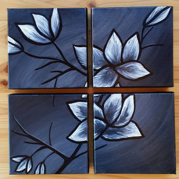 Four piece canvas painting, flower canvas painting, black and white flower painting, valentine's day gift for a woman, Blooming flower art