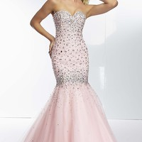 Long Strapless Beaded Mermaid Gown