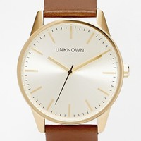 UNKNOWN Tan Leather Strap Watch With Gold Dial