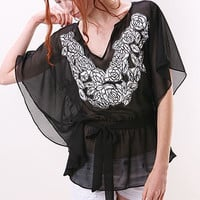 Rose Patch Chiffon Top | Trendy Tops at pinkice.com