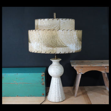 Mid Century Table Lamp With Original Tiered Lampshade . Gold Speckled Plaster . Vintage Chalkware Table Lamp Circa 1950s . MCM Lighting