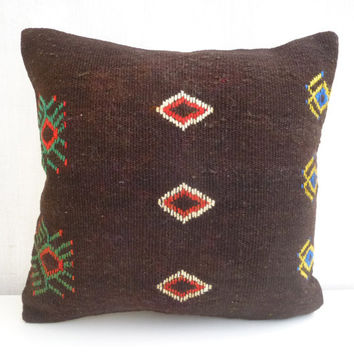Brown Turkish Kilim Pillow with Embroideries