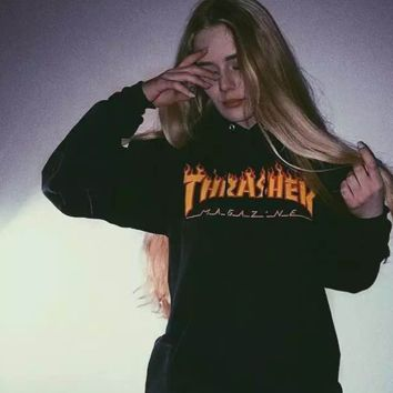 Autumn and winter Thrasher flame skateboard tide brand dead fly west coast hip-hop Harajuku high quality Hoodie = 10339445066