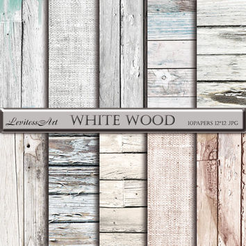 "Wood digital paper: ""White wood"" with wood distress background, rustic wood, wood scrapbook paper,white wood texture, and burlap papers"