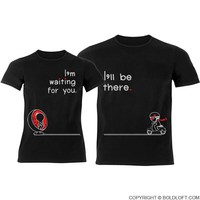 Love is on the Way™ His & Hers Matching Couple Shirts Black