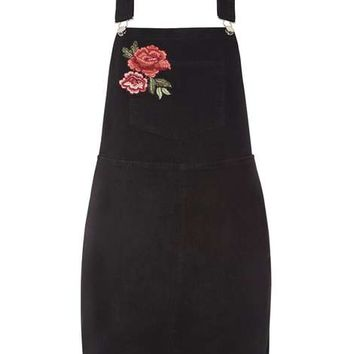 Rose Embroidered Dungaree Pinafore Dress - Dresses - Clothing