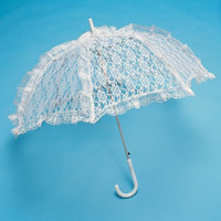 Firefly Imports White Lace Parasol Umbrella for Bride, 26-Inch