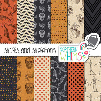 "Vintage Halloween Digital Paper - ""Skulls and Skeletons"" - orange & black Halloween scrapbook paper with seamless patterns - commercial use"