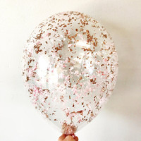 Metallic Rose Gold Blush Pink Confetti Balloons - Set of 3 - Birthday party bachelorette wedding bridal shower | Free Shipping