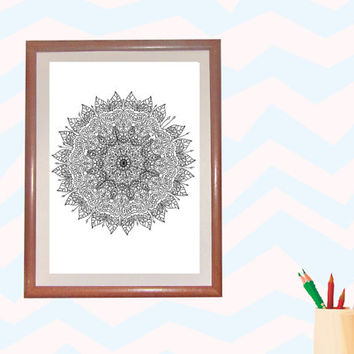 Digital Download Colouring Page, Adult Coloring, ornament,line drawing,Mandala,Adult Colouring Page,Flower Printable, Illustration,Line Art