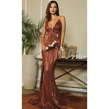 Dangerous Romance Brown Sequin Sleeveless Spaghetti Strap Plunge V Neck Open Back Mermaid Maxi Dress