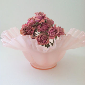 Vintage Fenton Pastel Pink Glass Bowl Wedding, Thank You or Housewarming Gift Inspiration Cottage Style Decor
