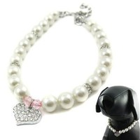 "Alfie Couture Designer Pet Jewelry - Pinky Crystal Heart Pearl Necklace - Size: M (10""- 12"") for Dogs and Cats"