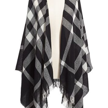Men's The Kooples Plaid Wool Poncho Scarf - Black