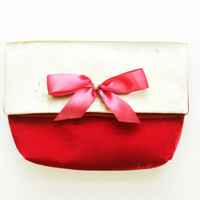 THE GIFT 2 / Velvet folded clutch with satin bow - Ready to Ship-OOAK