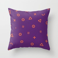 Happy Particle - Purple Throw Pillow by parazitgoodz