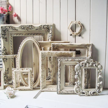 Antique Cream Very Distressed Vintage Ornate Frames, Set of 11 Open Shabby Chic Antique Style Frames, Oval Frame, Cream Ornate Frame Gallery