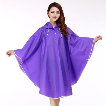 Rain Jacket Women Waterproof Hooded Raincoat Poncho Outside Rain Coat Women Semi Transparent Rainwear EVA