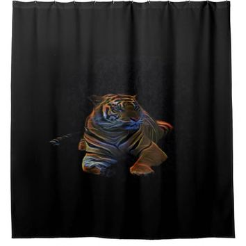 neon tiger, shower curtain