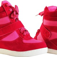 Fashion Sneakers High Top Lace Wedge Heels Ankle Top Pink Shoes