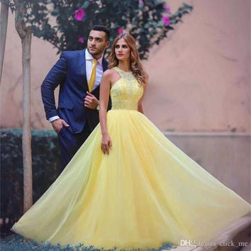 Hot Yellow Mermaid Prom Dresses 2017 Long Sexy Jewel Beads Chiffon Party Dresses Evening Wear Sexy Zipper Formal Cocktail Dress