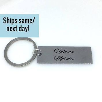 Hakuna Matata, Couple Keychain, Initial Keychain, Engraved Keychain, Custom Keychain, Customized Keychain, Gift for Her