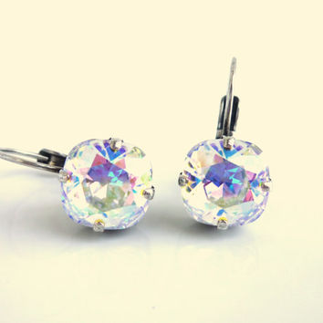 Swarovski crystal earrings, crystal AB 10mm square lever backs, designer inspired crystal earrings, GREAT PRICE