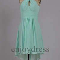 Custom Mint Halter New Short Bridesmaid Dresses 2014 Simple Prom Dresses Cheap Evening Gowns Cheap Party Dress New Homecoming Dresses