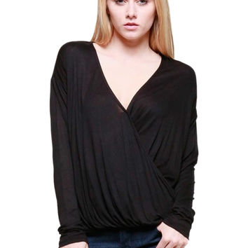 Draped Long Sleeve Surplice Knit Top