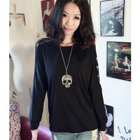 Lace Loose Long Sleeve Bat-wing Sleeve Women Autumn New Style Korean Style Black Cotton T-shirt One Size @WH0382b $8.99 only in eFexcity.com.