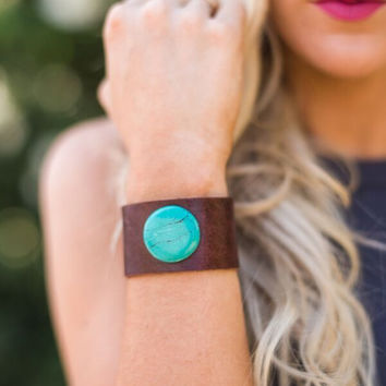 Leather + Turquoise Stone Cuff
