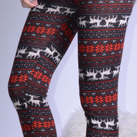 Climb Down The Chimney Holiday Reindeer Print Leggings - One