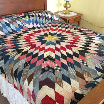 Vintage Lone Star Quilt Top, Cotton Prints Woven Fabric, Hand Stitched 72 x 76 Rustic Primitive Quilting Project