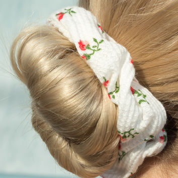 White Flower Scrunchie - Hair Accessories - Accessories