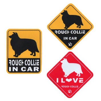 """I Love Rough Collie"" Dog in Car Bumper Stickers (3 Decal Pack)"