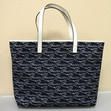 New GUCCI Canvas/Leather Tote BAG Handbag Large Navy/White 257245 4171