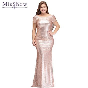 Plus size Evening Dress Long Sparkling 2018 New Women Elegant Sequin Mermaid Maxi Evening Party Gown Celebrity Formal Dress