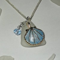 Sea Glass Necklace with Enamel Shell