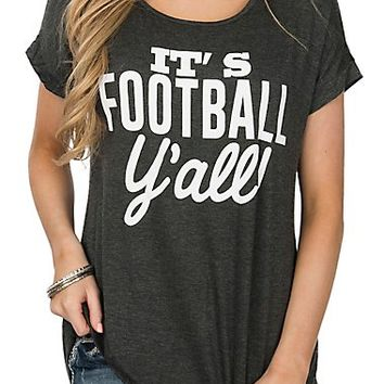 Lovely Souls Women's Grey It's Football Y'all Short Sleeve Casual Knit Shirt