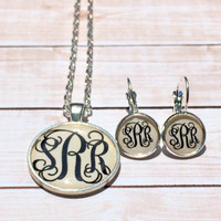Monogram Necklace and Earrings Set Bridesmaid gift Personalized Flower Girl Gift Silver Monogram Jewelry