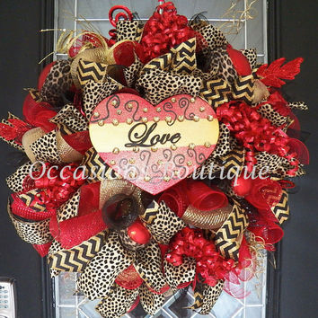XL Valentine's Wreath, Valentine's Door Hanger, Front door Wreaths, Wreath for Door, Deco Mesh Wreath, Valentine's Day, Made to Order