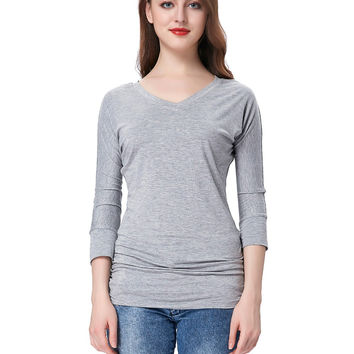 T Shirt women 2017 fashion american apparel pleated grey shirt femme 3/4 sleeve v-neck womens tops summer t-shirts casual tee