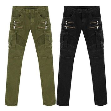 HCXX Denim Biker men Skinny Jeans Runway Distressed