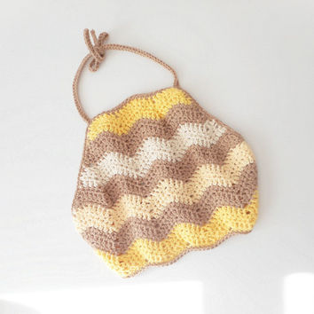 Cotton Crochet Halter Top in Yellow and Neutral Chevron Stripes, Size Small, ready to ship.